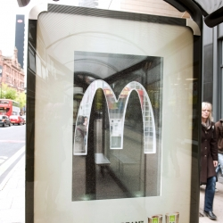 To promote their new range of fresh coffee's, McDonald's & JCDecaux Innovate created 8 showcase 6 sheets which were filled with fresh coffee beans.
