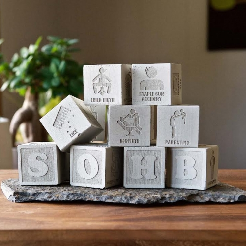 The School of Hard Blocks is a set of 12 concrete alphabet blocks depicting the hardships of life. Things like divorce, dentists, hangovers, genocidal dictators, etc.