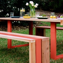 The SR Outdoor Table Set from Scout Regalia is made of enameled aluminum and FSC certified redwood.  The SR Outdoor Table Set is made to order with a choice of 210 enamel colors.