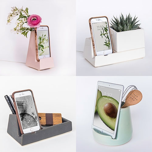 STAK Ceramics multi-purpose phone/tablet holders, planters, and container combos.