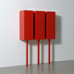 Sticks, a cabinet system with boxes in four different widths and four different heights, standing on one leg by Gerard de Hoop for Castelijn. The total height of each Stick can always be different, because of the four different lengths of the legs (the sticks).