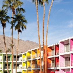 Taking color cues from the indigenous flowers of the desert region, the new Saguaro property is in full bloom. Opening in Palm Springs in February, the bold design elements pack a punch amidst the balmy backdrop of palms.