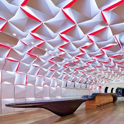 The new Salon Urbain lounge and event space in Montreal, designed by Sid Lee Architecture and Ædifica, features a bar in the shape of a soundwave.