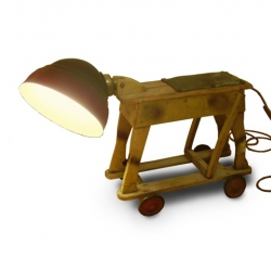 A recycled set of wheels and an old pub sign light creates this lovely little lamp, 'Albie' by JamesPlumb.