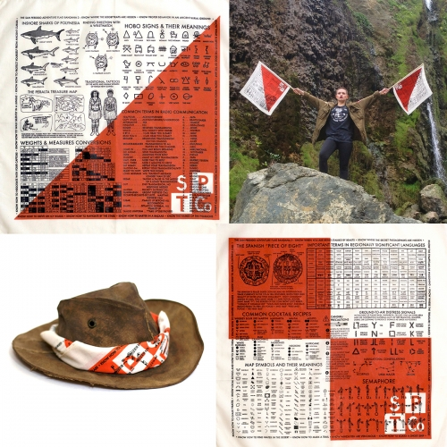 "The ""Adventure Flag"" bandana series from the San Perdido Trading Co - not just bandanas that double as signal flags, each (of 3 designs) also reads like an adventure instruction manual!"