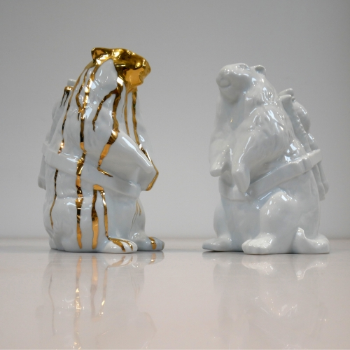 Marmot with Bootle Porcelain Edition by Belgium Artist SWEETLOVE / Porcelain made in Limoges, France