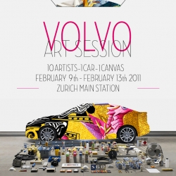10 artists in 5 days are involved into the 'Volvo Art Action' in Zürich from Feb 9th to 13th. Two webcams make it possible to follow the event each day.