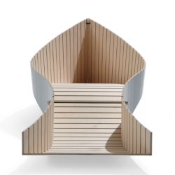 KOII, unique folding deck chair, to be launched at the International Furniture Fair in Cologne, by German furniture designer Sascha Akkermann.