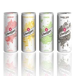 New limited edition for Schweppes Slim Can: metallic white with an explosion of simple geometric and colored forms - by french creative Fred&Farid