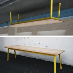 Scout Hall Table, 3 meters long, bright yellow and encouragingly communal. By Noddy Boffin.