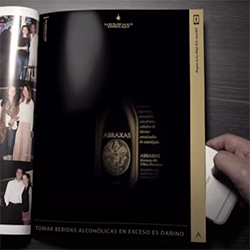 SAB Miller's Abraxas - Interactive Print. The print ad looks completely black until you backlight it!