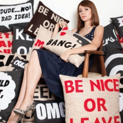 Cute and sarcastic pillows by NY based designer Alexandra Ferguson.