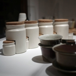 Brett Newman designed these Nesting Canisters, cast in porcelain with cork lids, on display in the 2012 RISD Industrial Design Senior Show.