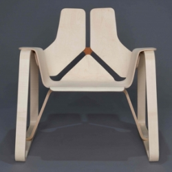 A bent-laminate chair, crafted by Kyle Chambers, a student studying Industrial Design at RISD.