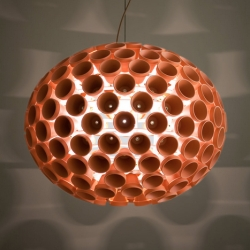 The ellipsoidal Terra Light, composed of 190 terracotta flowerpots, featured at the Milan Furniture Fair. By Tyson Atwell, RISD Furniture MFA '12.