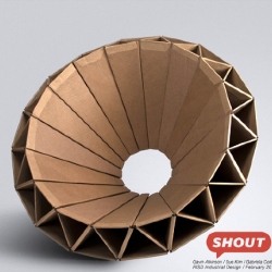 'Shout' is a cardboard chair designed for children. Collaboration between Gavin Atkinson, Sue Kim, and Gabriela Colton.