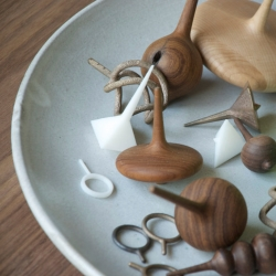 Spinning tops made by RISD Furniture MFA Candidate Brendan Keim.
