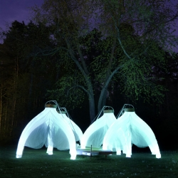 Fantastic Trailer is a mobile pavilion constructed out of glowing inflatable 'draft columns'. From Cheryl Baxter.