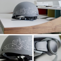SAHN Helmets collaborated with artist Chairman Ting to create a limited edition helmet featuring a new custom graphic, in an exclusive matte grey.