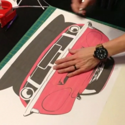 Manual Designs creates hand-made prints of classic cars. Watch this 2 minute timelapse to show the entire process of creating a print, from initial design to final print.