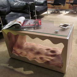 Wave Table is a wonderful display of digital fabrication. By Harry Sprague Solie, designGood.