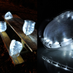 Vaporize - Architecture project from the University of Michigan, by Beatrice and William Liow, and Michael Senkow. Hanging pendants developed with cnc forms, thermoforming, led-lighting, dry-ice and a water pump.