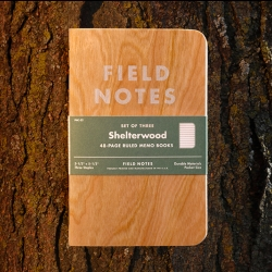 Field Notes Shelterwood Edition: featuring covers made from actual American Cherry wood, sliced ever-so-thin and bonded to a substrate of kraft paper for durability. No two alike!