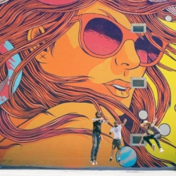 Brazilian art collective Bicicleta Sem Freio creates the largest public art project to date in Los Angeles Arts District.