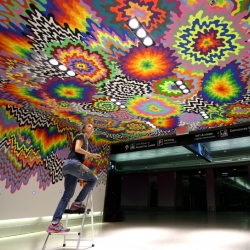 Jen Stark's latest public art installation brings color to the Miami International Airport.
