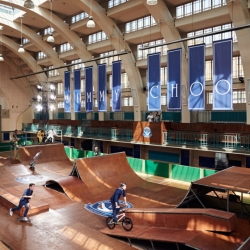 "Jimmy Choo crafts action-packed launch of their SS16 Men's collection at ""Jimmy Choo Sporting Club"" skatepark in London, where the BMX and skateboarders doubled as the models!"