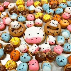 Fantastic Donuts of LA makes ridiculously cute creatures out of them - bears, pigs, cows, birds... and even ninja turtles.