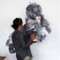 Spectacular large-scale paintings of Instagram-famous pigeon by artist Adele Renault!