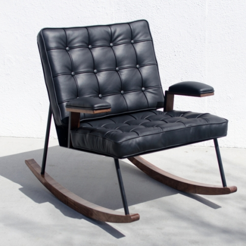 Rocking Chair - Tufted Black Leather, Steel, and Walnut Rocker Designed and Built by Kyle Duvernay