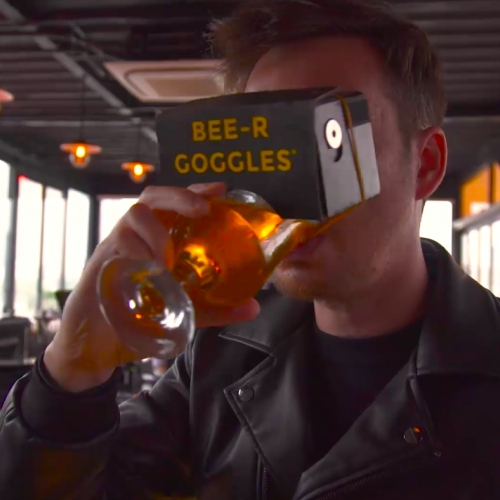 BEE-R Goggles, a virtual reality headset (attached to your beer) designed specially for beer lovers the world over to get immersed in their favourite beverage like never before.
