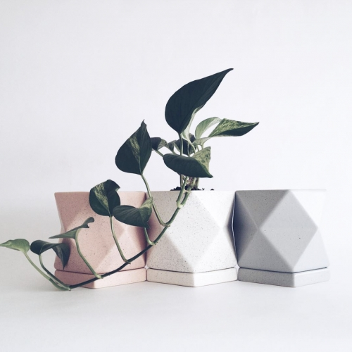 Laila Salomon Poliedros Collection - beautiful planters and tableware accessories made of stoneware, slip cast and high fire ceramics.