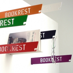Super cute idea for a Book Rest ~ powdercoated steel with cutouts ~ ready to hold your page and your glasses...