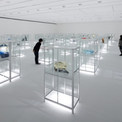 nendo has designed an exhibition space of the 'world craft triennial 2010 pre-event' in kanazawa, japan. inexpensive mass-produced glass greenhouses display objects.
