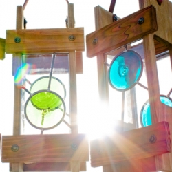 Hanging stained glass lanterns by Steve Halterman