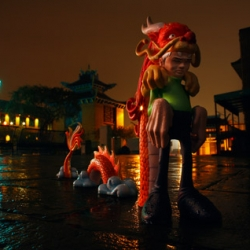 Brian McCarty's latest ePostcard #75 Kid Dragon ~ Sam Flores' toy shot in chinatown!
