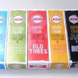 "A hilarious Shaving Cream package design. ""Shaving Cream That Packs the brilliant scent of success,"" or ""Shaving Cream that Beats the rare scent of dirt."""