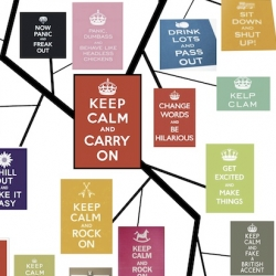 "A phylogenetic tree tracking the evolution of the ""keep calm and carry on"" poster meme."