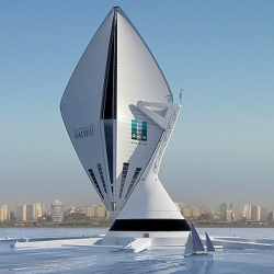Design company Seymourpowell has unveiled a new transport concept, the Aircruise - a giant, vertical airship powered by natural energy and designed to carry travellers in style and luxury.
