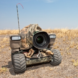 This is SO awesome!  This photographer put a camera and 2 flashes on a camouflaged r/c car and drove it towards wild lions, elephants and buffalo in Africa! Beetle cam from Will and Matt Burrard-Lucas.