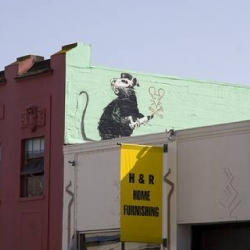 Dennis Yang just showed me the awesome new Banksy in SOMA that just popped up today! See his photo set.