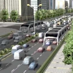 """Straddling"" bus–a cheaper, greener and faster alternative at the 13th Beijing International High-tech Expo. It will be put into use in Beijing's Mentougou District. Proposed by Shenzhen Hashi Future Parking Equipment Co., Ltd."