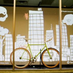 This simple video projection window display installation was a collaborative art project between Chairman Ting and Tangible Interaction in Vancouver, Canada.