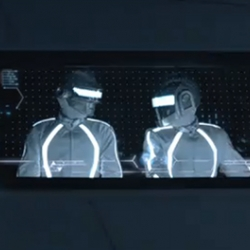 "The new TRON: Legacy trailer shows off the Daft Punk cameo & serves as a music video for their song ""Derezzed."""
