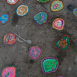 """Ben Wilson has spent the last six years painting the gum that people have discarded on the streets of London. He heats it up with a burner and lacquers it to set his """"canvas"""" then spends up to a day on some!"""