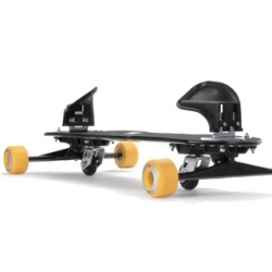 A Freebord is a type of specialist skateboard designed to closely simulate the behavior of a snowboard. They have 6 wheels - two spring locked castor wheels on the central axis, and four slightly raised conventional wheels.