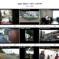 The Japan Earthquake filmed by Japan Citizens. Plays simultaneously, capturing the moment from different locations.
